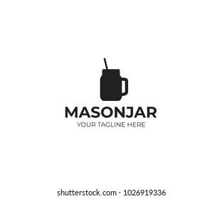 Mason jar mug with straw logo template. Canning jar vector design. Glass mason jar with handle illustration