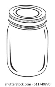 Mason Jar, Vector, Black Outline