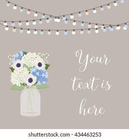Mason jar wedding / Flower bouquet / Wedding card