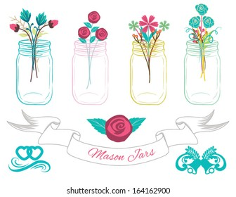 Mason Jars Clip art with Banner,line dividers, and rose bouquet in Vector