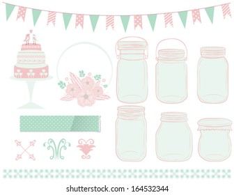 Mason Jars clipart design with cake, frame, paper texture,flag, and line dividers in vector