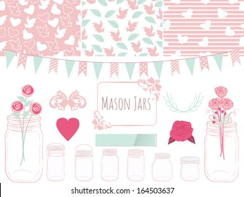 Mason Jars Clipart with frame,line divider,flag and three seamless/repeated pattern