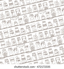 Mason jars on shelf.Pattern backdrop.Vector Hand drawing doodle holiday set.Glass jar Jars for canning,lemonade,jam,marshmallow,candy.Vintage style,background.Cute illustration