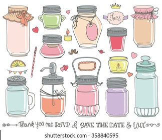 Mason jars set.Wedding,romantic Hand drawing doodle holiday set.Party,save the date.Vector glass jar for canning.Vintage style,Pastel colors.Soft design.