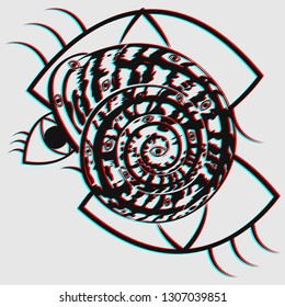 Masonic All-seeing Eye inscribed in a helix shell in trendy flat style with visual anaglyph stereoscopic effect isolated. Vector illustration in surrealism modern art style with chromatic aberration.
