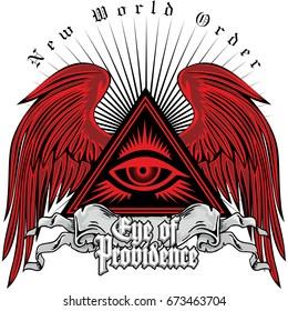 masonic coat of arms with eye providence, grunge vintage design t shirts