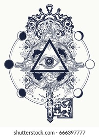 Masonic eye and key tattoo symbols. Freemason and spiritual symbols. Alchemy, medieval religion, occultism, spirituality and esoteric art t-shirt design