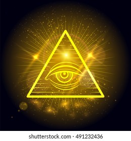 Masonic eye of Omniscience on golden shining background. Mystical symbol vector illustration