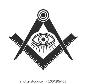 Masonic Freemasonry Emblem Icon Logo. Vector illuminati all seeing eye
