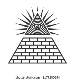 Masonic Illuminati Symbols, Eye in Triangle Sign. Vector