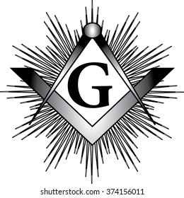 Masonic square & compass with G letter and rays