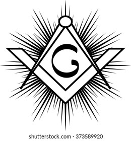 Masonic square & compass with rays