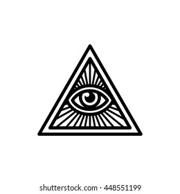 Masonic symbol, All Seeing Eye inside pyramid triangle with beams. Isolated vector illustration, geometric line icon.