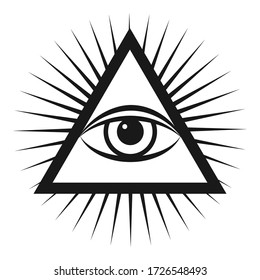 Masonic symbol The all-seeing eye inside the pyramid triangle icon. Vector illustration on a white background.