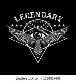 Masonic symbol. Sacred geometry with all seeing eye, wings and slogan: Legendary. Sketch for print t shirt and tattoo art. Ancient symbol.