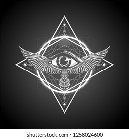 Masonic symbol. Sacred geometry with all seeing eye and wings.Sketch for print t shirt and tattoo art. Ancient symbol. Magic mandala with eye of providence. Alchemy.