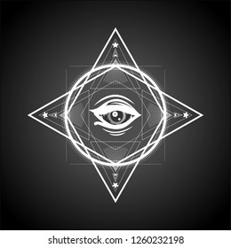 Masonic symbol. Sacred geometry with all seeing eye.Sketch for print t shirt and tattoo art. Magic mandala with eye of providence. New world order.