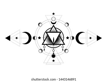 Masonic symbol. The Sacred Vagina inside triple moon pagan Wicca moon goddess icon. Vector illustration. Tattoo, astrology, alchemy, Phases of Menstrual cycle, moon phase of menstruation, mystical eye