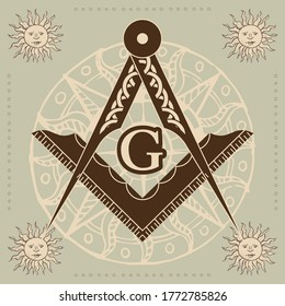 Masonic symbol. Sign of the Masson Lodge. New world order. Sacred geometry, religion, spirituality, occultism. Vector image.