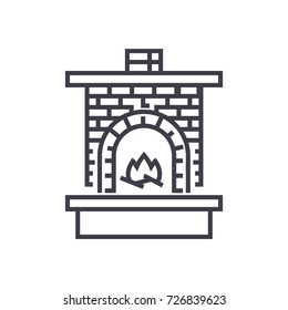 masonry heater,fireplace with brick chimney with fire vector line icon, sign, illustration on background, editable strokes