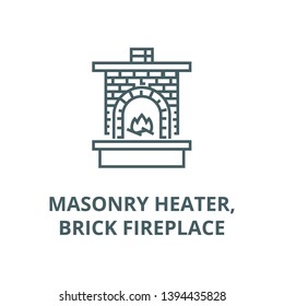 Masonry heater,fireplace with brick  vector line icon, linear concept, outline sign, symbol