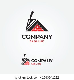 masonry house with trowel logo vector illustration