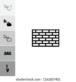 Masonry icon. collection of 6 masonry filled and outline icons such as brick wall. editable masonry icons for web and mobile.