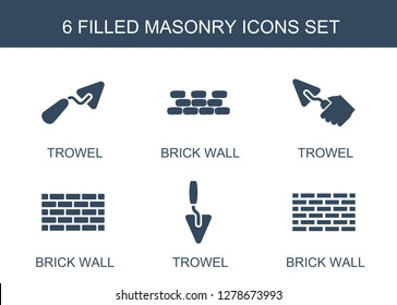 masonry icons. Trendy 6 masonry icons. Contain icons such as trowel, brick wall. masonry icon for web and mobile.