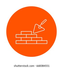 Masonry and trowel, vector round line icon, flat style, simple color change