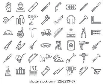 Masonry worker construction icon set. Outline set of masonry worker construction vector icons for web design isolated on white background