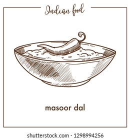 Masoor dal with chili pepper in deep bowl from Indian food. Nutritious creamy soup of red lentils with meat cubes. Hot liquid dish isolated cartoon flat vector illustration on white background.