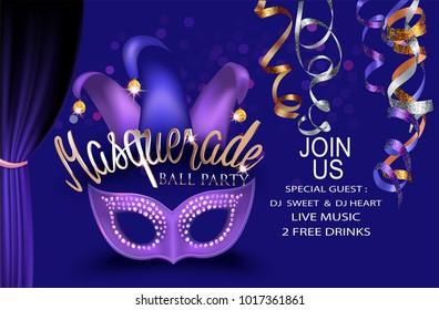 Masquerade ball party purple invitation banner with masquerade  deco object. Vector illustration
