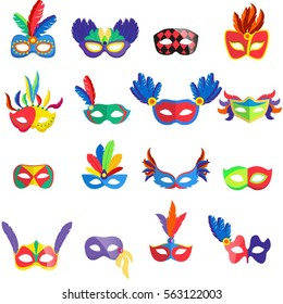 Masquerade colorful masks set. Collection of 16 carnival masks with feathers and jewels. Isolated. Vector