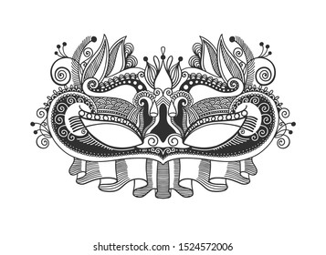 masquerade design element, venetian or mardy gras carnival mask with feathers, party invitation, invitation or flyer vector illustration