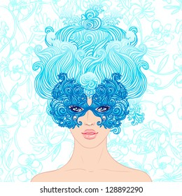 Masquerade: Girl at the carnival on a blue background. Perfect for costumed party invitation