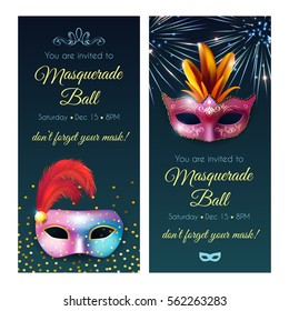 Masquerade invitation party vertical flyer banners set with realistic glossy masks decorative text and editable date vector illustration