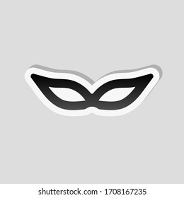 Masquerade mask, carnival or party. Sticker style with white border and simple shadow on gray background