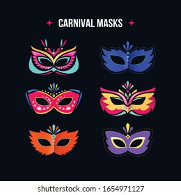Masquerade mask set, flat style. Carnival mask collection isolated