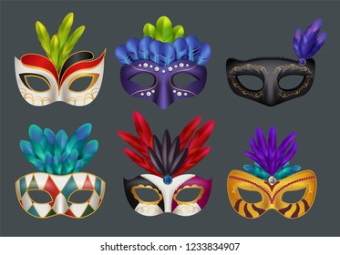 Masquerade masks realistic. Masked fashion party carnival vector realistic illustrations isolated