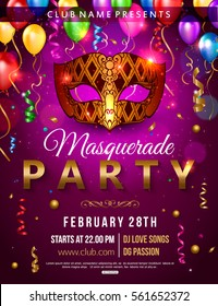 Masquerade party flyer design with carnival mask, balloon, confetti. Vector illustration