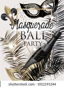 MASQUERADE PARTY INVITATION CARD WITH CARNIVAL DECO OBJECTS . GOLD, WHITE AND BLACK. VECTOR ILLUSTRATION