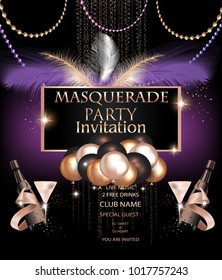MASQUERADE PARTY INVITATION CARD WITH CARNIVAL PARTY DECO OBJECTS. VECTOR ILLUSTRATION