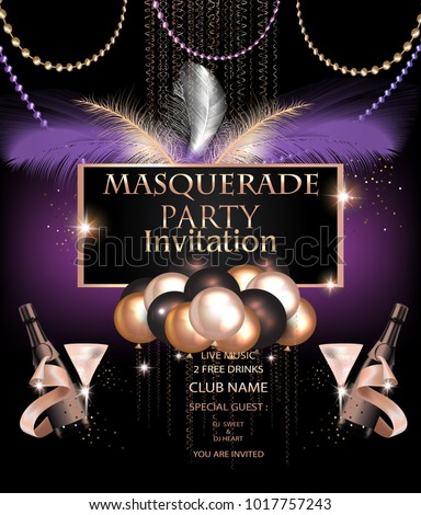 masquerade party invitation card with carnival party deco objects vector illustration