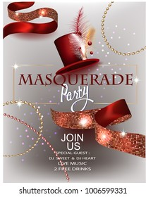 Masquerade party invitation card with hat with decorations, beads and ribbons. Vector illustration