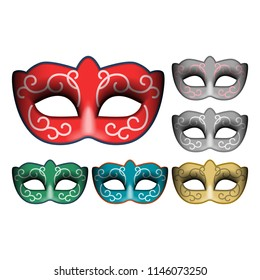 Masquerade party masks. Carnival masks isolated on white background, front view