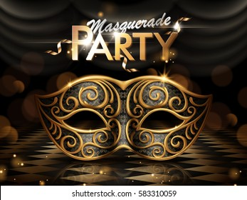 Masquerade party poster, attractive eye mask with golden frame isolated on dark bokeh background in 3d illustration