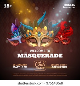 Masquerade realistic poster with party tickets and club symbols vector illustration
