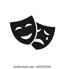 Masquerade vector icon on white background. Comic and tragic mask icon