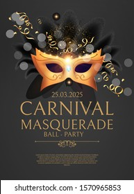 Masquerafe Flyer Template with Gold Carnival Mask.