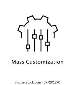 Mass Customization Vector Line Icon